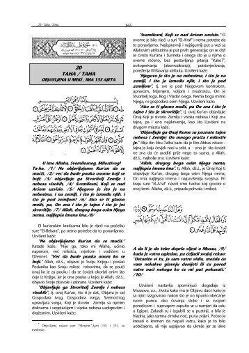 tefsir sure Ta ha - Islamska zajednica u Hrvatskoj