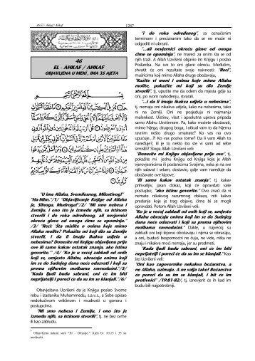 tefsir sure Al-Ahqaf - pogledati - Islamska zajednica u Hrvatskoj