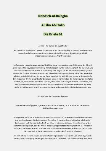 Nahdsch-ul-Balagha Ali ibn Abi Talib Die Briefe 61