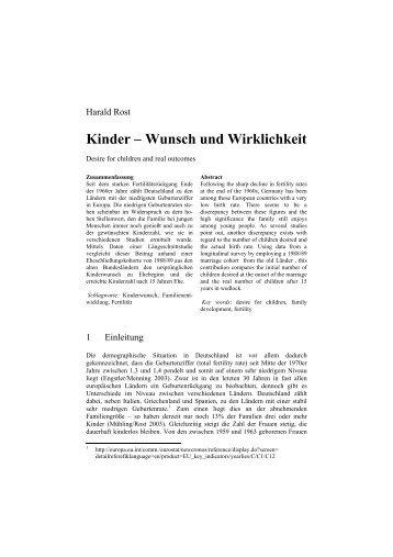 Kinder – Wunsch und Wirklichkeit - Zeitschrift für Familienforschung