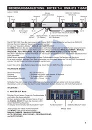 bedienungsanleitung botex t-4 dmx-512 t-bar