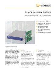 Datenblatt optische Übertragungsbaugruppen TUNOR ... - KEYMILE