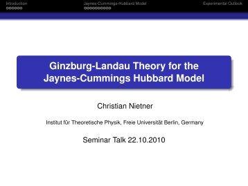 Ginzburg-Landau Theory for the Jaynes-Cummings Hubbard Model
