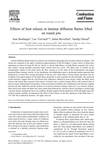 Effects of heat release in laminar diffusion flames - Mechanical ...