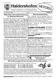 8. Dez. 2008 - 19:30 Uhr Pfarrkirche Vestenthal ... - Haidershofen
