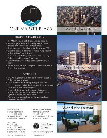 ONE MARKET PLAZA - Jones Lang LaSalle