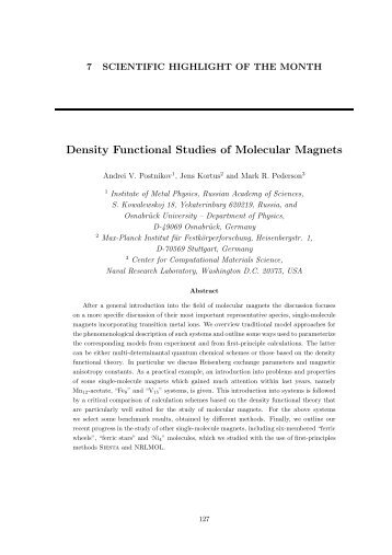 Density Functional Studies of Molecular Magnets - (pdf - 1.039 - Psi-k