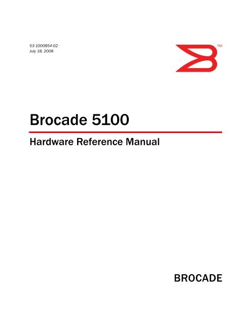 Brocade 5100 Hardware Reference Manual - Dell Support
