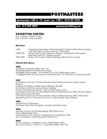 KATARZYNA KOZYRA - Postmasters Gallery