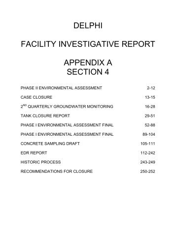 Delphi, facility investigation report, appendix a, section 4