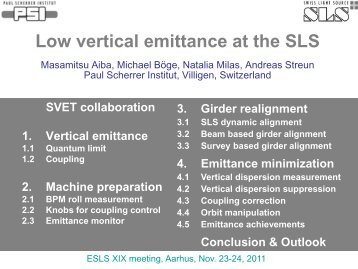 Low vertical emittance at the SLS - ISA