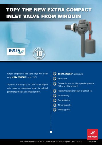 TOPY THE NEW EXTRA COMPACT INLET VALVE FROM WIRQUIN