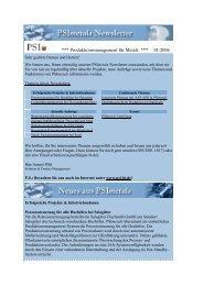 Newsletter 01/06 (deutsch) - PSI Metals GmbH