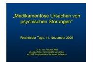 """""""Medikamentöse Ursachen von psychischen Störungen"""