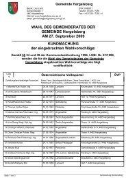 WAHL DES GEMEINDERATES DER GEMEINDE Hargelsberg AM 27.