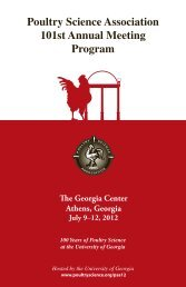 Poultry Science Association 101st Annual Meeting Program