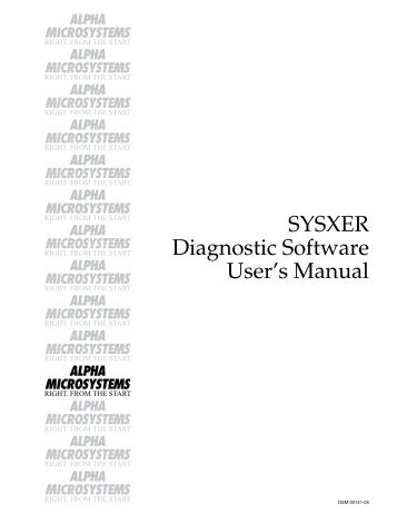 SYSXER Diagnostic Software User's Manual - Birmingham Data ...