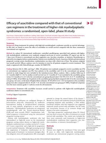 Articles Efficacy of azacitidine compared with that of conventional ...