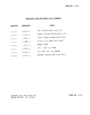 Johnson Gas 118 Lining