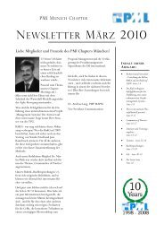 NEWSLETTER MÄRZ 2010 - Project Management Institute Munich ...