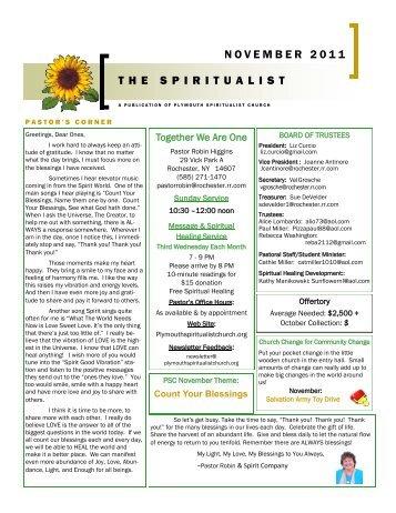 NOVEMBER 2011 THE SPIRITUALIST - Plymouth Spiritualist Church