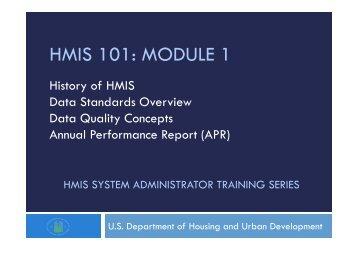 HMIS 101: MODULE 1 - HMIS.info
