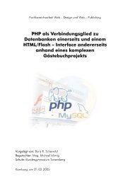 PHP als Verbindungsglied zu Datenbanken einerseits und einem ...