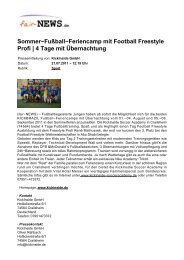 Sommer-Fußball-Feriencamp mit Football Freestyle ... - fair-NEWS.de