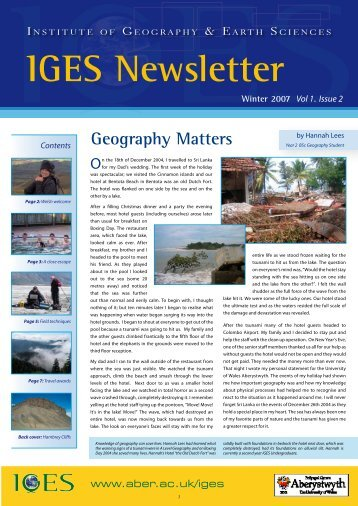 IGES Newsletter Issue 2 - Aberystwyth University
