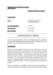 REFUGEE STATUS APPEALS AUTHORITY - UNHCR