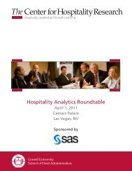 Hospitality Analytics Roundtable Program - Cornell School of Hotel ...