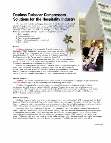 Danfoss Turbocor Compressors Solutions for the Hospitality Industry