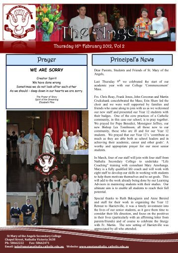 Prayer Principal's News - St Mary of the Angels - Nathalia