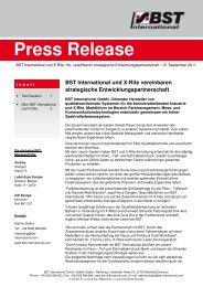 Press Release - BST International GmbH