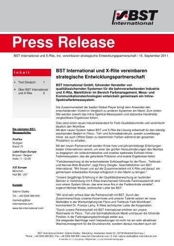 Press Release - BST International GmbH