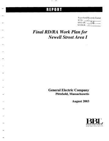 Final RD/RA Work Plan for Newell Street Area I - US Environmental ...