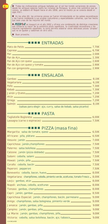 ENTRADAS ENSALADA PASTA PIZZA (masa fina) - pizza 4u