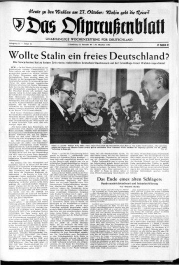 Folge 42 vom 19.10.1974 - Archiv Preussische Allgemeine Zeitung
