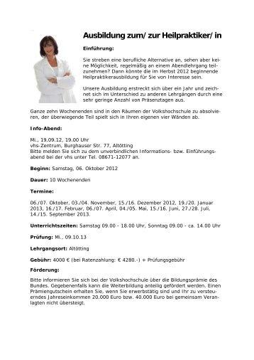 Ausbildung zum/zur Heilpraktiker/in - Volkshochschule Alt-/Neuötting