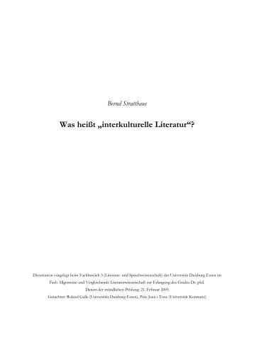 """Was heißt """"interkulturelle Literatur""""? - bei DuEPublico - Universität ..."""