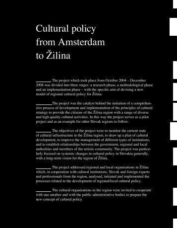 Cultural Policy from Amsterdam to Zilina - English version