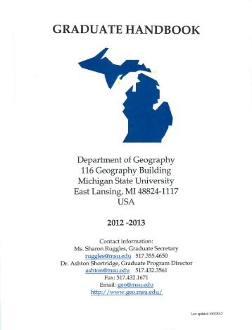 graduate handbook - Department of Geography - Michigan State ...