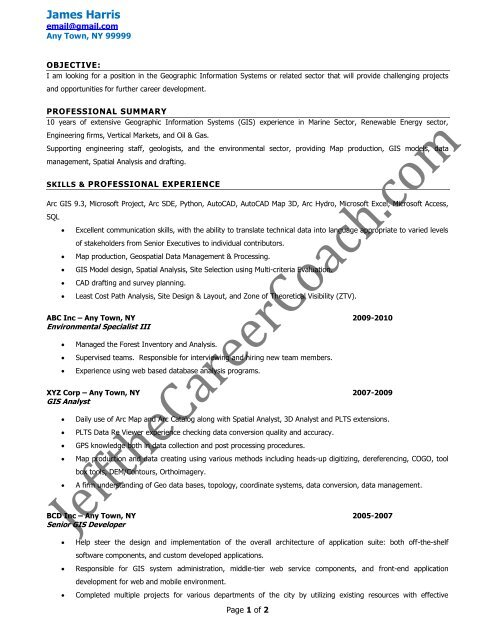 download the gis specialist resume sample