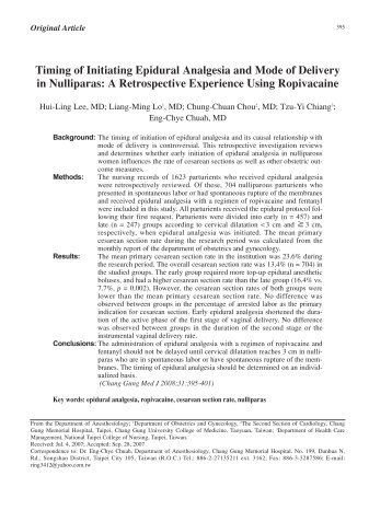 Timing of Initiating Epidural Analgesia and Mode of ... - 長庚大學