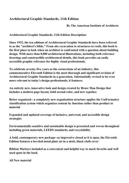 Architectural Graphic Standards 10th Edition Pdf