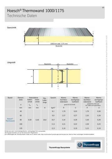 Hoesch® Thermowand 1000/1175 Technische Daten