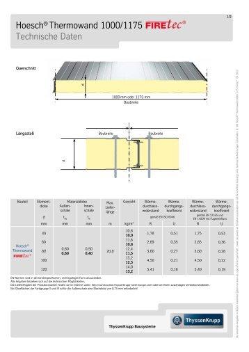 Technische Daten, Hoesch Thermowand® FIRETEC