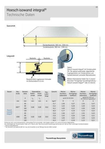 Hoeschisowand integral Technische Daten - Hoesch-Bausysteme ...