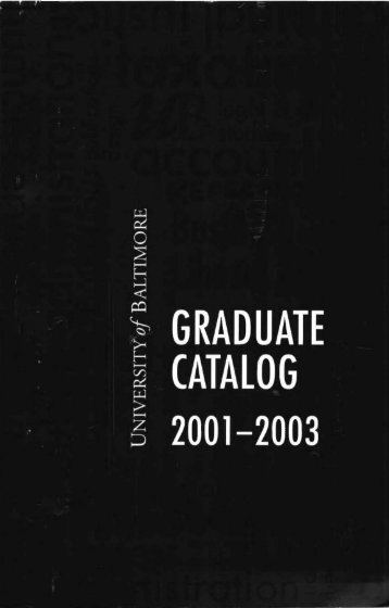 GRADUATE CATALOG - Special Collections - University of Baltimore