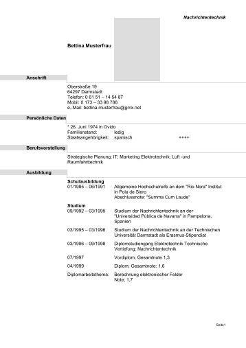 LebenslaufVorlage PDF  Staufenbiel.de